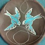 2 blue bird plate