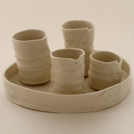 Porcelain cups on tray